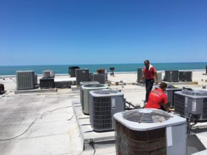 Coolco employees servicing a large number of AC units on rooftop